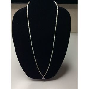 Long Necklace White Gold Toggle Crystal Pendant